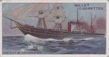 Wills Vintage Cigarette Card Celebrated Ships No 43 The City Of Manchester  1911