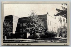 Bicknell Indiana~Methodist Church~1954 Silver Border Wayne Paper B&W Postcard