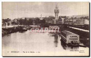 Old Postcard Epernay Marne View Parisian Laundry
