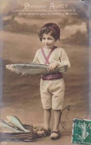 1er Avril April Fool's Day Young Boy Holding Fish 1910