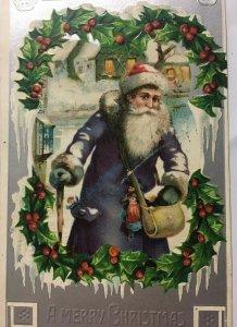 A Merry Christmas 1907 Purple Blue Coat Santa Holly Silver Postcard