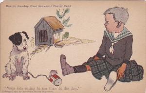 Boy Sitting With Dog Boston Sunday Post Souvenir Postal Card Series