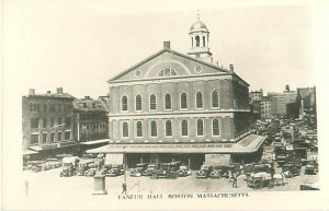 Faneuil Hall, Boston MA RPPC With People, Horse & Carriage