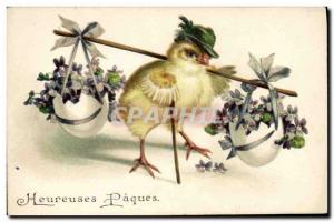 Postcard Fantasy Illustrator Old Chick Easter