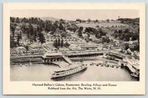 The Weirs NH~Howard Ballou's Cabins~Bowling~Korner Kubbard~1940s Air View~B&W