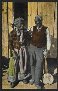 Old Chums Black Man With Banjo & Woman Used c1910s