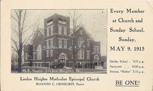 1915 Linden Heights Ohio Card: Congregants Outside Methodist Episcopal Church