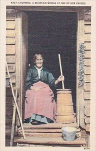 Churning A Mountain Woman At One Of Her Chores Asheville North Carolina