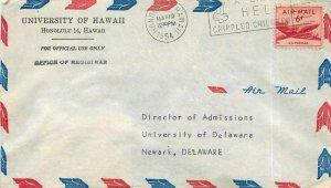 Cover letter US 6c Honolulu for Newark in 1954
