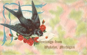 G80/ Wakelee Michigan Postcard 1910 Greetings from Wakelee 3