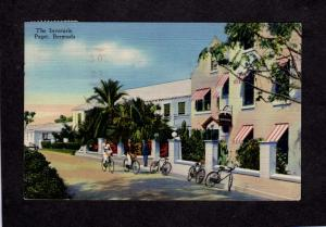 The Inverurie, Paget Bermuda Postcard Linen PC Bikes Bicycles