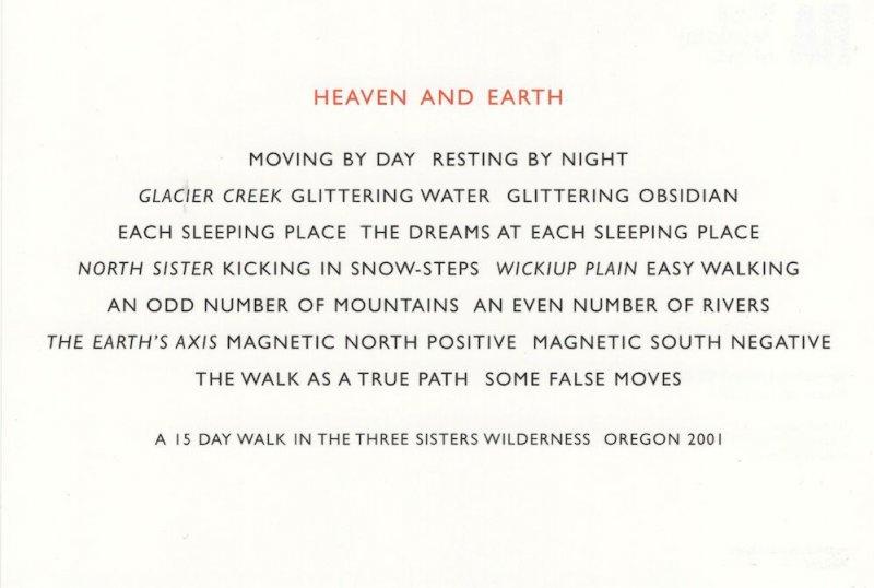 Richard Long Heaven & Earth North South Pole Oregon Painting Postcard