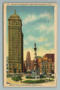 Lafayette Square Liberty Bank City Hall Buffalo NY New York Postcard