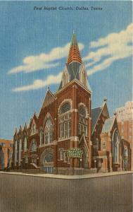 Dallas Texas~First Baptist Church~1940s Linen Postcard