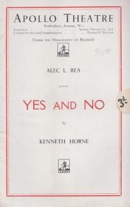 Yes & No Kenneth Horne Alec Rea Comedy Apollo London Theatre Programme