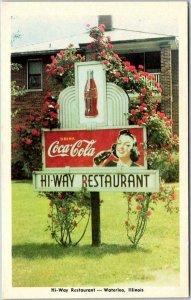 Waterloo, Illinois Postcard HI-WAY RESTAURANT Street View / Coca-Cola Coke Sign