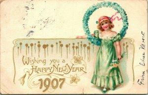 Vtg 1907 Tuck's Carte Postale  Wishing You Un Bonne Année  Artistique Séries