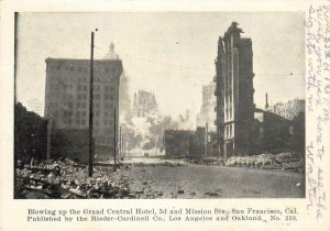 Blowing Up Grand Central Hotel San Francisco 1906 Earthquake Vintage Postcard