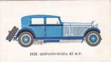 Mobil Oil Vintage Trade Card Vintage Cars 1966 No 16 Hispano-Suiza 45 H.P. 1928