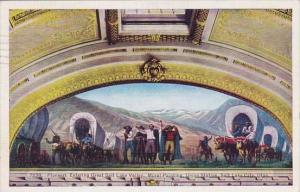 Pioneers Entering Great Salt Lake Valley Mural Painting Union Station Salt La...