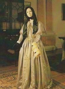 Pauline De Bush Fashion Postcard 1840 Victorian Black Bonnet Ermine Muff