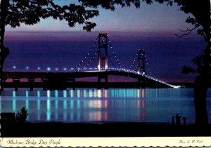 Michigan Mackinac Bridge At Night Deep Purple