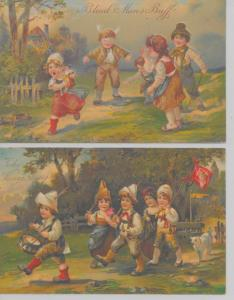 Pair of general greetings children playing games by PFB antique pc Z18048