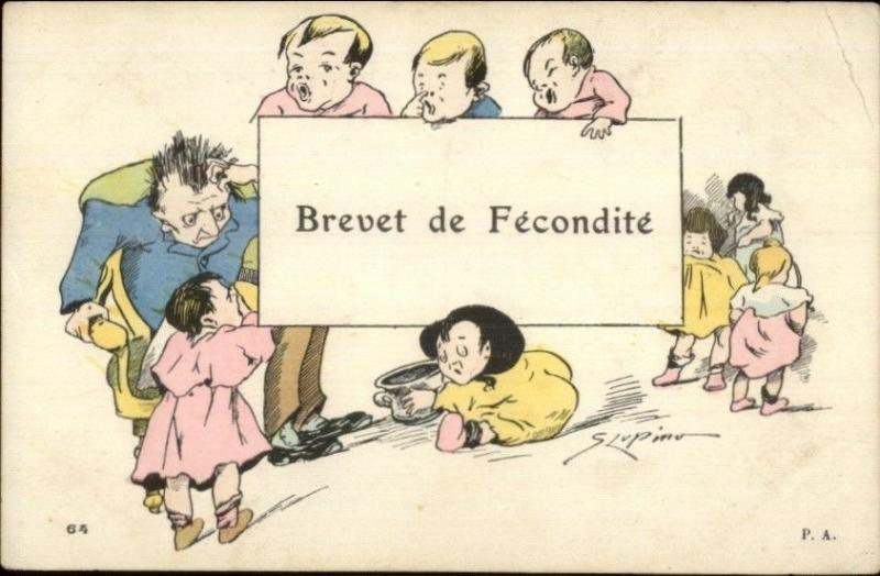French Fertility - S. LUPINO Babies & Stressed Parent Pulling Out Hair Postcard