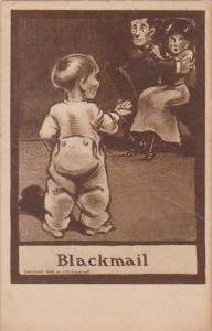 Humour Young Boy Catching Couple Kissing Blackmail 1910