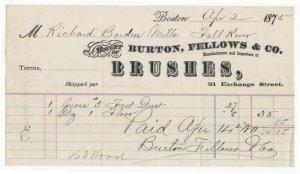 1875 Billhead, BURTON, FELLOWS & CO., Manufacturers of Brushes, Boston, MA
