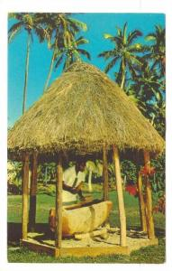 Beating of Lali's once used for the calling of warriors to battle, Fiji, 40-60s