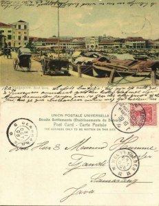 straits settlements, SINGAPORE, Boat Quay (1906) German Sea Mail, Postcard