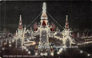 Luna Park at Night Coney Island, NY, USA Amusement Park Postal Used Unknown