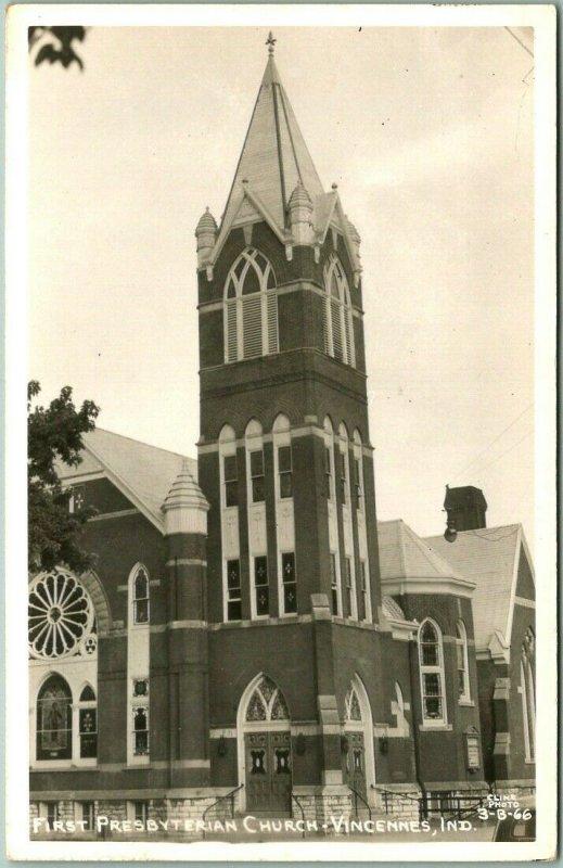 Vincennes, Indiana RPPC Postcard First Presbyterian Church Cline Photo Unused