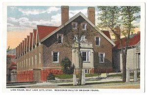 Lion House, Salt Lake City, Utah. Residence Built by Brigham Young. Beehive logo