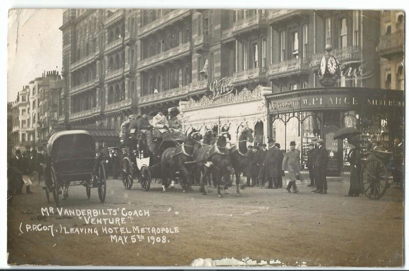 Mr Vanderbilt's Coach Venture Leaving The Metropole May 5th 1908 RP PPC