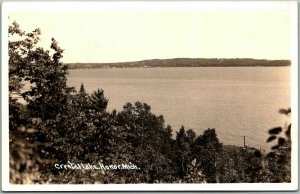 HONOR, Michigan RPPC Real Photo Postcard Crystal Lake View c1940s Unused