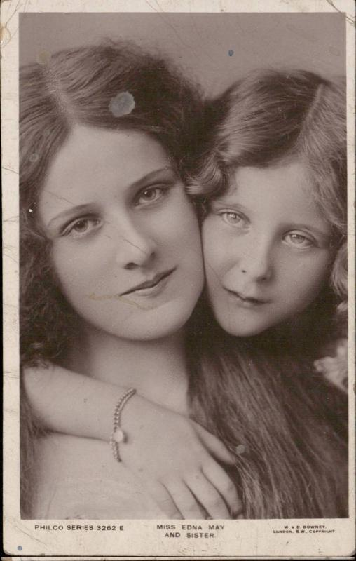Miss Edna May and sister portrait edwardian silent movie actress
