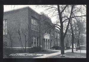 RPPC EMMETSBURG IOWA HIGH SCHOOL BUILDING VINTAGE REAL PHOTO POSTCARD