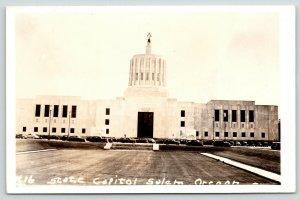 Salem Oregon~State Capitol~Art Deco Architecture~1930s Cars~1940s RPPC