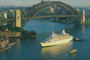 P&O Harbour Princess Cruise Liner Ship At Sydney Harbour Postcard