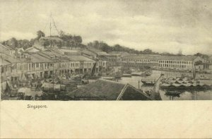 Singapore, Partial View of the Quay (1899) Postcard