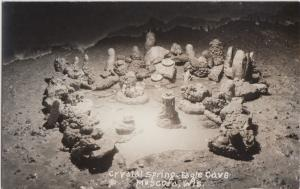 Wisconsin Wi Real Photo RPPC Postcard c1940s MUSCODA Crystal Spring EAGLE CAVE