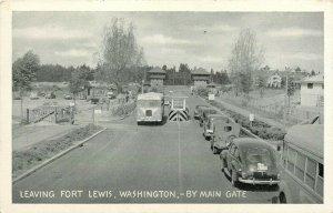 Fort Lewis Washington WA Main Gate Old Cars Bus  Postcard