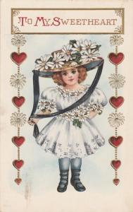Valentine Wishes to My Sweetheart - Pretty Girl with Flowers - pm 1916 - DB