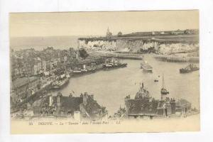 Aerial of Town,Ships, and Busy Harbor / La Tamise dans l'Avant Port,Dieppe,Fr...