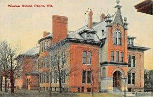 RACINE WISCONSIN~WINSLOW SCHOOL~KRADWELL DRUG  PUBL 1908 PSMK PHOTO POSTCARD