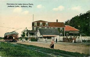 ME, Auburn, Maine, Lake Grove park, Entrance, Trolley