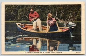 Milwaukee~Evinrude Outboard Motor~Glorious Fishing Ahead~Lovely Lady~Linen 1940s