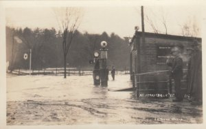 RP: FORESTDALE , Vermont , 1910-20s ; Flooded TEXACO Gas Station , Glass Globes